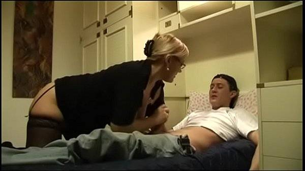 Horny aunt rimming young cock