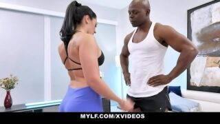 Busty milf took her black trainer's BBC