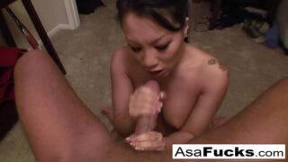Asian GF sucked her BF's hard dick